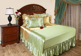 Satin sheets add an elegant look to any bedroom