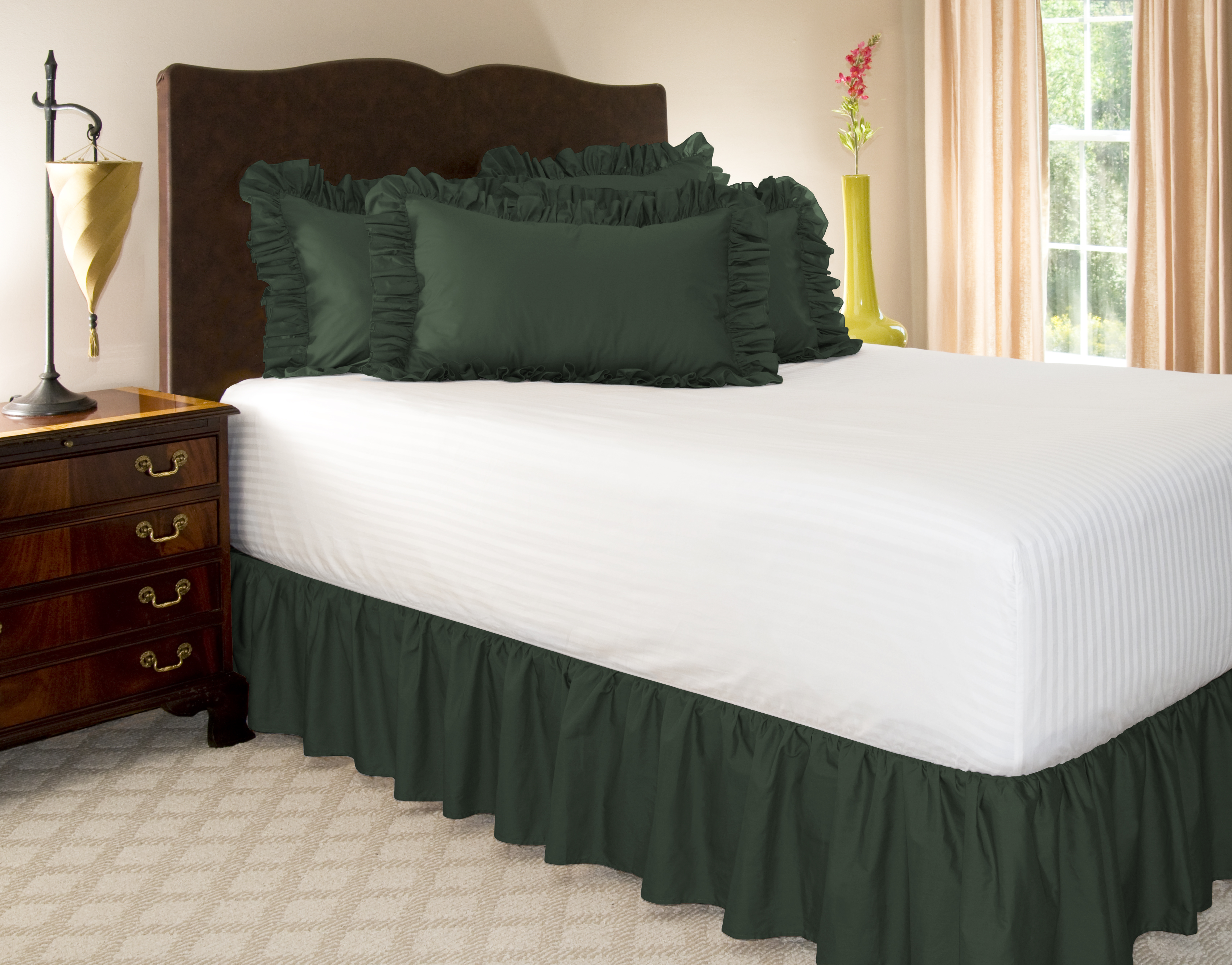 Solid ruffled bed skirt 14 drop length dust ruffle ebay for Frilly bedspreads