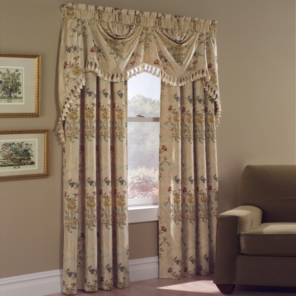 Curtains Ideas austrian valances curtains : Jewel Embroidered Floral Curtain Panels and Austrian Valance ...