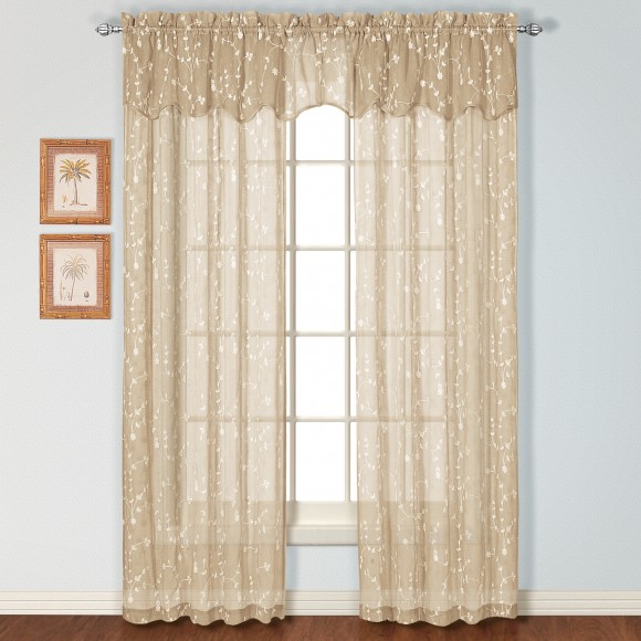Savannah Embroidered Curtain Panel and Valance