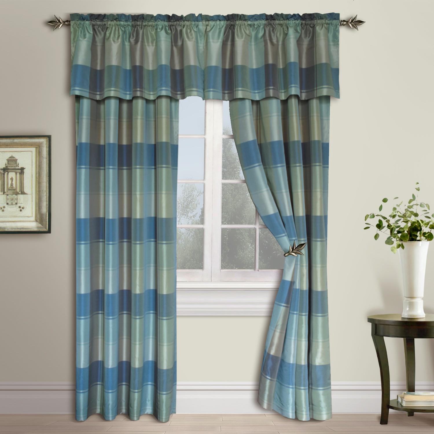 plaid woven curtain panels and valance shopbedding