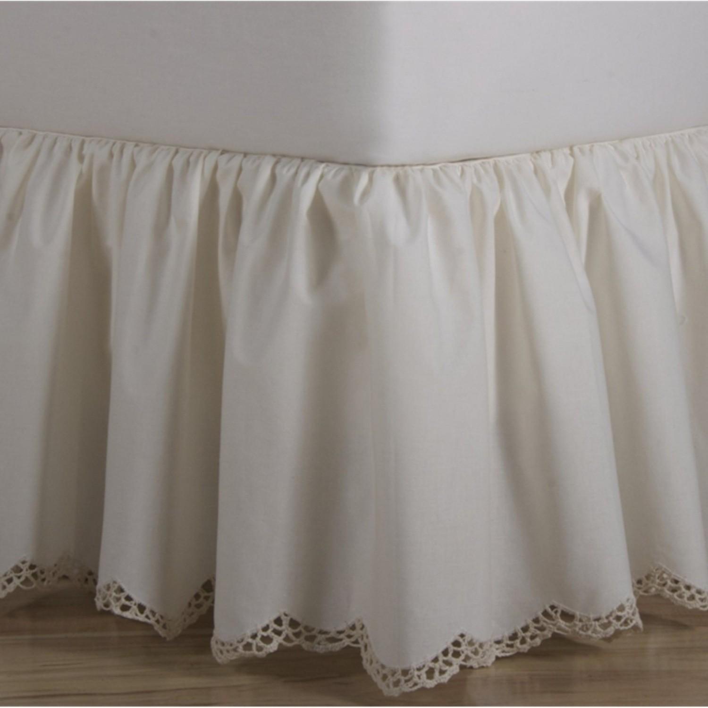 crochet edge scalloped cotton bed skirt