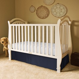 Sateen Stripe Tailored Crib Bed Skirt