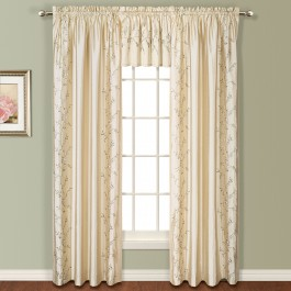 Addison Faux Silk Floral Embroidered Curtain Panel