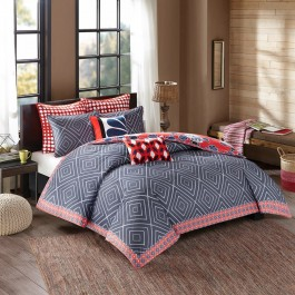 Natori Diamond Geo Reversible Duvet Cover Set
