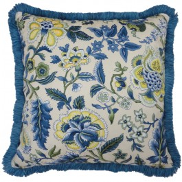 """Waverly Imperial Dress Porcelain Reversible 18"""" Square Pillow with Fringe"""