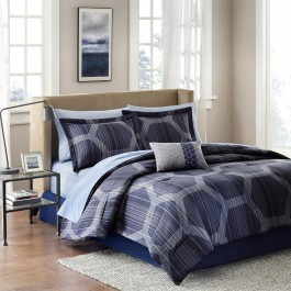 Madison Park Geometric Print Complete Bedding Set with Sheets