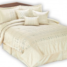 Metro Champagne Embroidered 7 pc Comforter Set