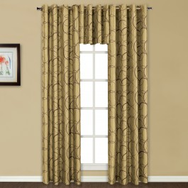 Sinclair Embroidered Grommet Top Curtain Panel