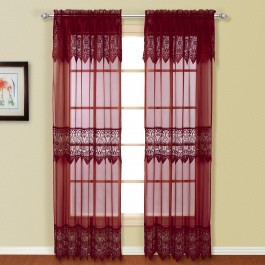 Valerie Solid Voile Curtain Panel w/Valances