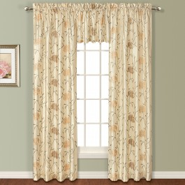 Avalon Emboridered Faux Silk Curtain Panels and Valance