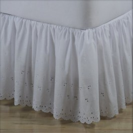 Bridal Eyelet Ruffled Bed Skirt