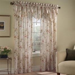 Chantelle Voile Floral Curtain Panels and Valance