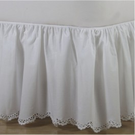 Crochet Edge Scalloped Cotton Bed Skirt