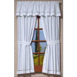 Lattice Window Tailored Curtain Pair and Valances