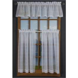 Leno Box Voile Cafe Curtain Pair and Valance