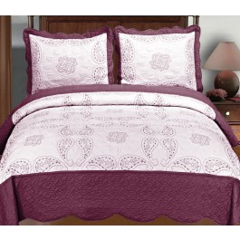 Embroidered Paisley Quilt Set