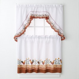 Rooster 3-pc Kitchen Curtain Set