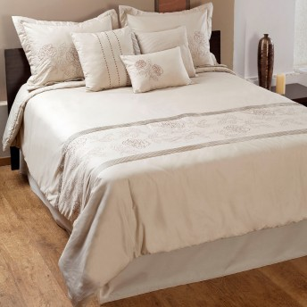 Aurora Floral Embroidery 7 pc Comforter Set