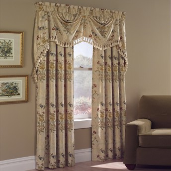 Jewel Embroidered Floral Curtain Panel