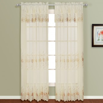 Marianna Embroidered Semi-Sheer Curtain Panels w/Valance