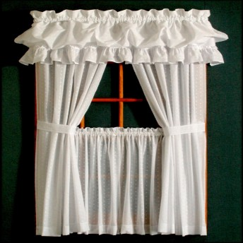 Dotted Swiss Tailored Curtain Pairs and Valances
