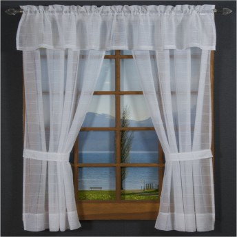 Leno Box Voile Tailored Curtain Panel Pair and Valance