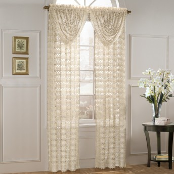 Marilyn Luxurious Macrame Look Curtain Panels and Waterfall Valance