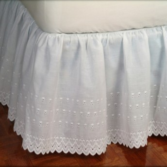 Victorian Eyelet Ruffled Bed Skirt