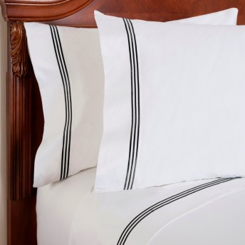Wickham Linear Embroidered 300 Thread-Count Pillow Case