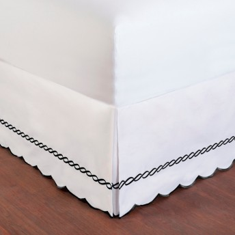 Wickham Rope Embroidered Bed Skirt with Scalloped Edge