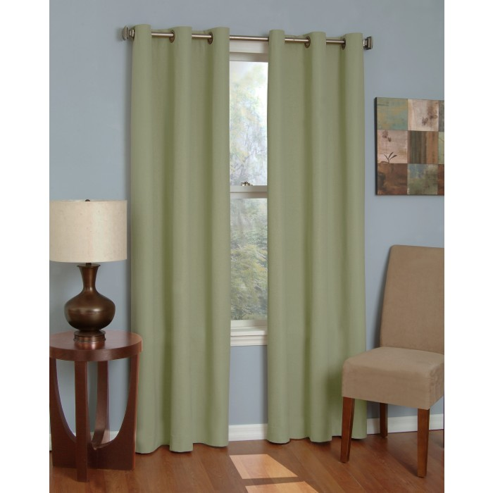 Eclipse Microfiber Thermaback Grommet Top Blackout Curtain Panel Bedding