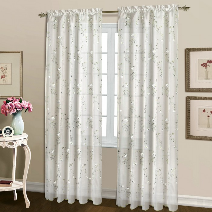 Loretta Embroidered Voile Curtain Panels And Valance