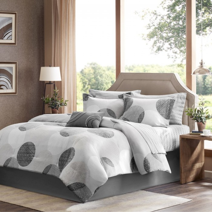 Madison Park Geometric Circles Complete Bedding Set With
