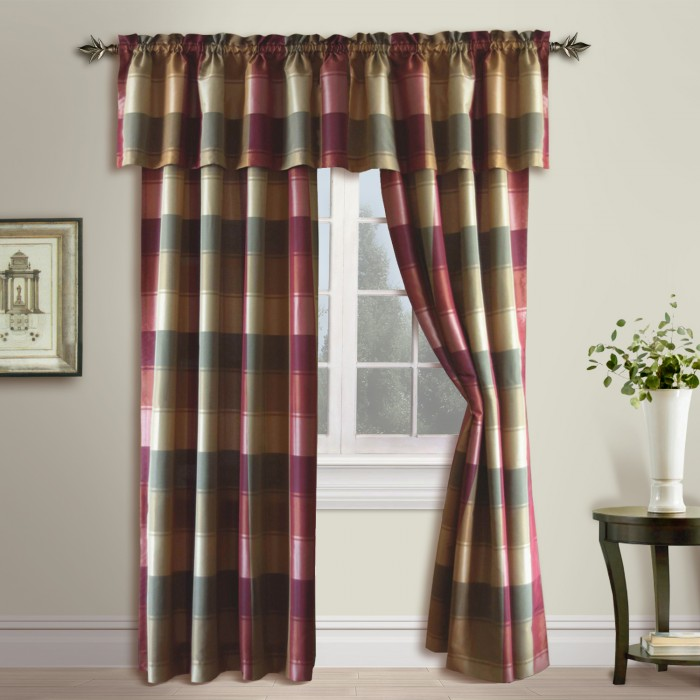 Plaid Woven Curtain Panels and Valance