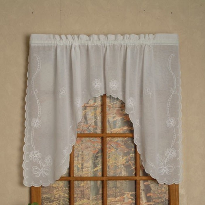 Swiss Tambour Sheer Embroidered Curtain And Valances