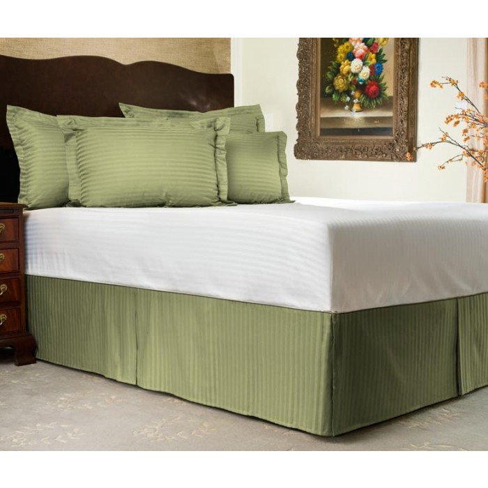 300tc Sateen Stripe Tailored Bed Skirt Shopbedding Com